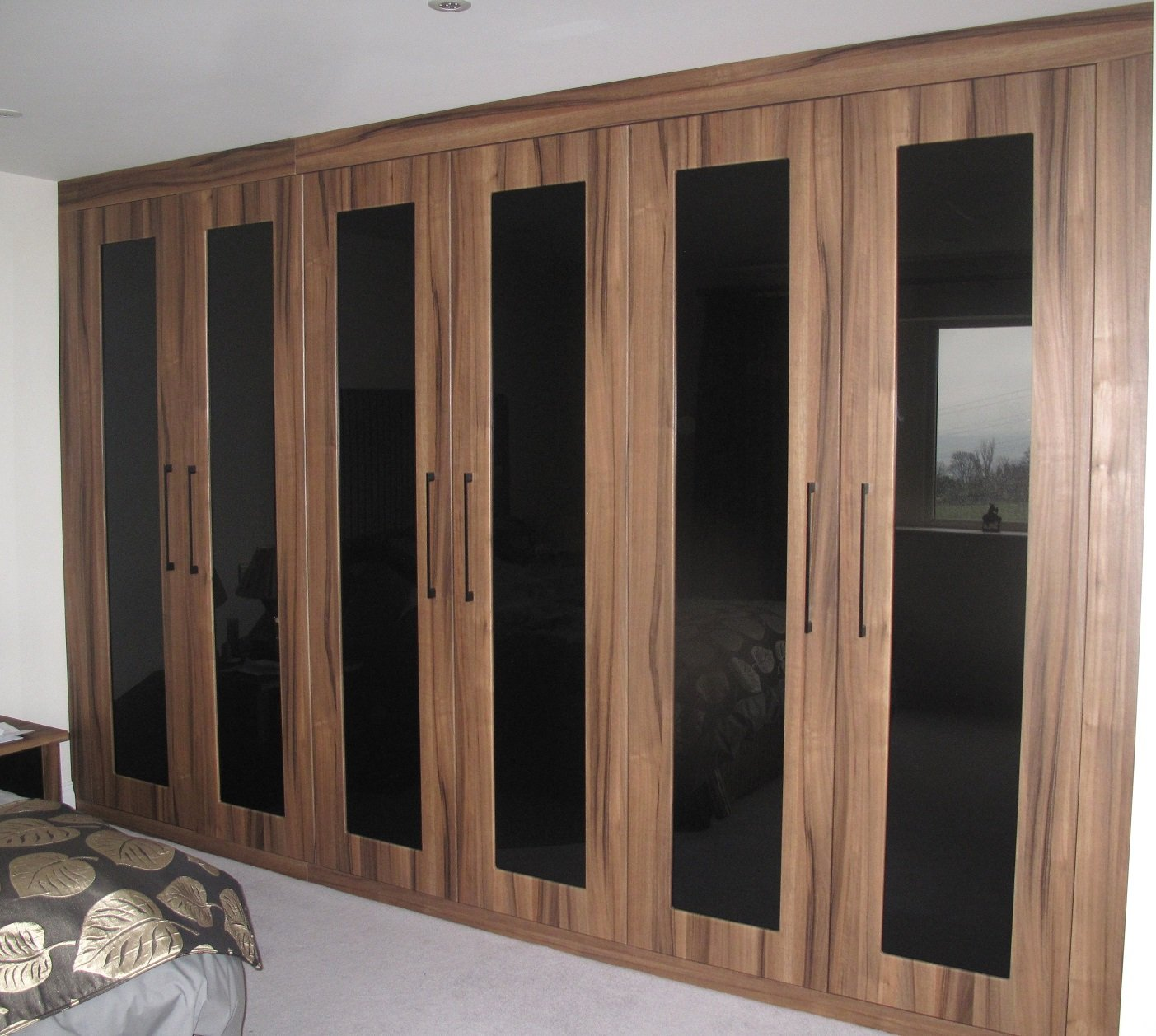 Black Glass with Wood Effect Fitted Wardrobe